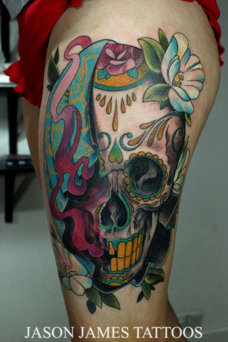 Neo Traditional Sugar Skull With Flowers By Jason James