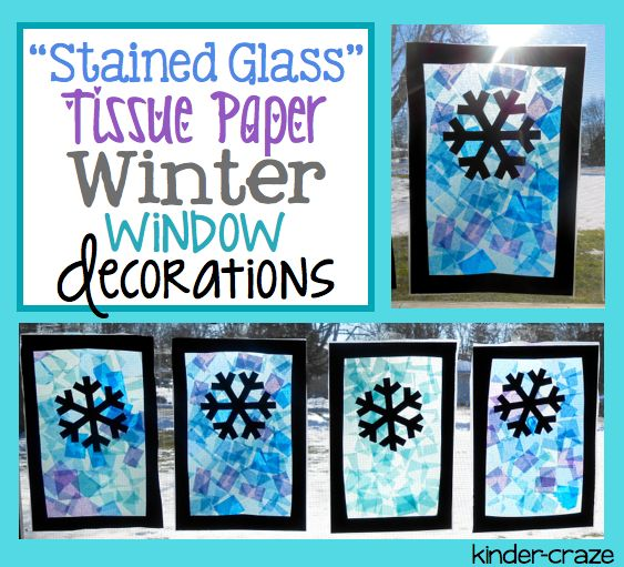 """""""Stained Glass"""" winter scene made with contact paper and tissue paper"""