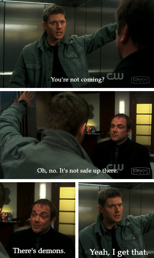 [SET OF GIFS] 5x20 The Devil You Know I can hear Crowley's voice in my head as he says that!