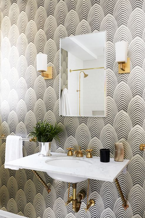 Black and Gold Bathrooms, Contemporary, bathroom, Carlyle Designs