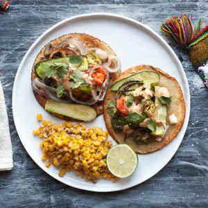 Roasted Vegetable Tostada Recipe — Dishmaps