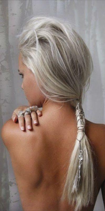 ~ long silver white hair ~ Bohemian Tribal Leather Braiding Hair Wrap