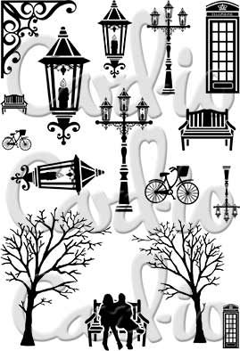 Vintage Christmas Clear Stamp Set; Create a real dickensian scene with this stamp set; 16 Silhoutte images to include, 2 Bent over Trees (bent in opposing directions to create an archway), Victorian style Lanterns in various styles and sizes with ornate bracket, park bench, park bech small, park bench with couple, antique bicycle and 2 traditional telephone booths. Larger versions of the main Lantern designs can be found on .