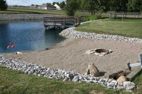 cool deck & pond beach with fire ring!