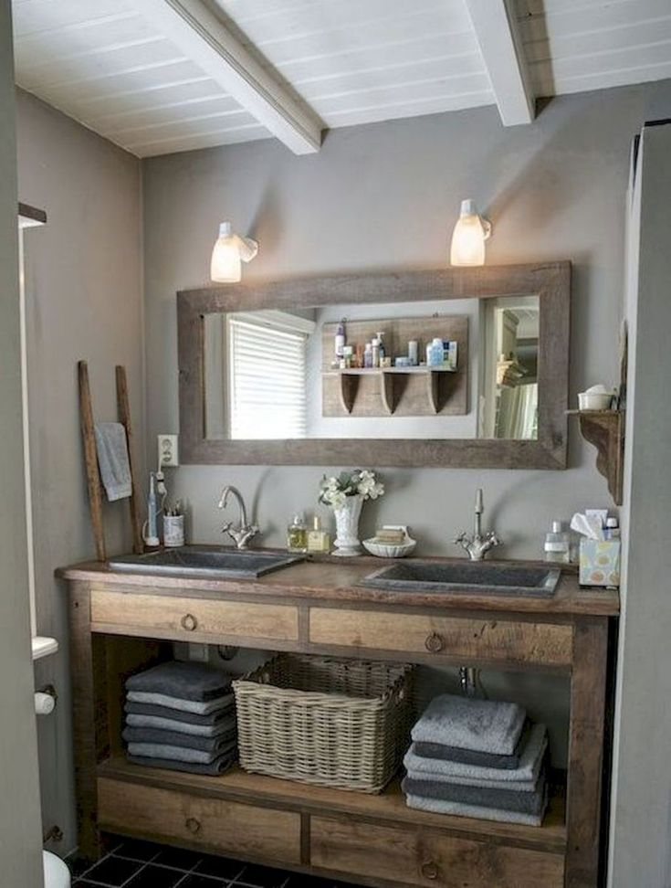Bathroom vanity idea.  Fair warning: destination site is riddled with advertising with no content but an image slideshow.