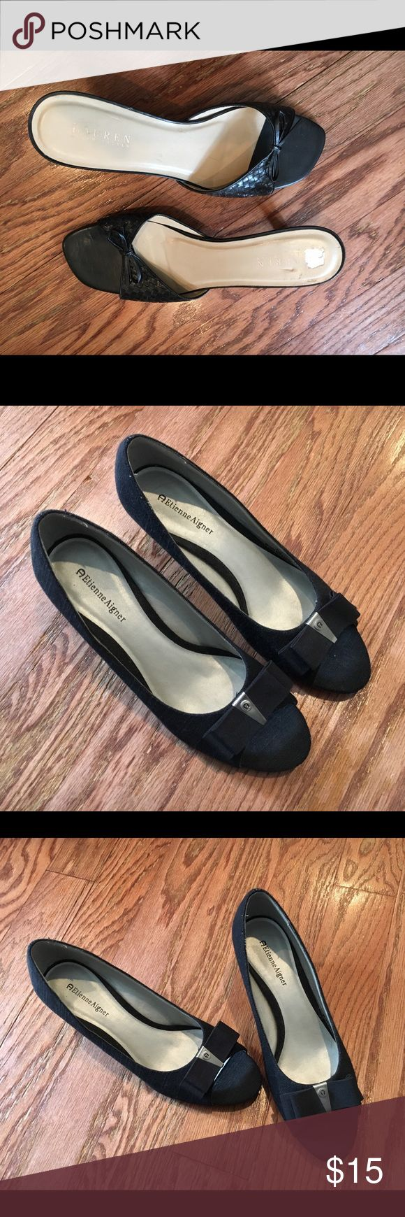 Black Shoes Etienne Aigner Size 8 1/2 Gently used black Etienne Aigner brand Womens shoes; Size 8.5; 19083002; Made in China Etienne Aigner Shoes Platforms