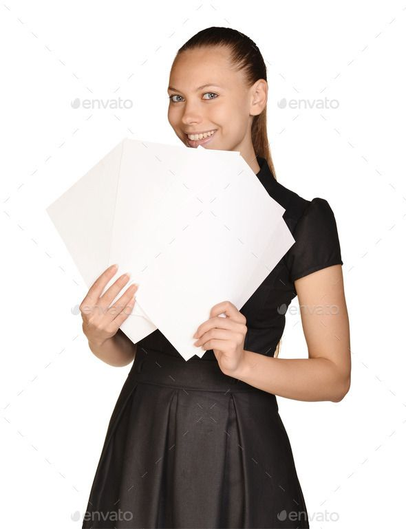 Business beautiful girl holding a blank sheet of paper and smiling