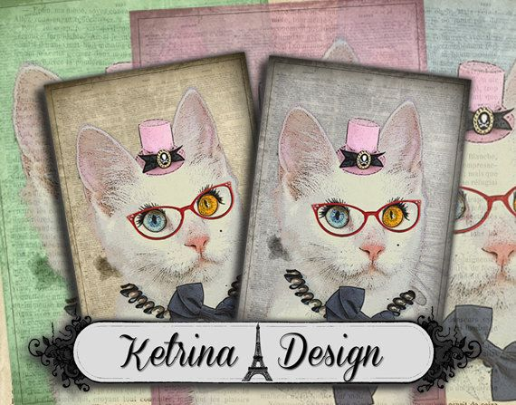Vintage Hipster Cat ATC image 2.5 x 3.5 cards by KetrinaDesign