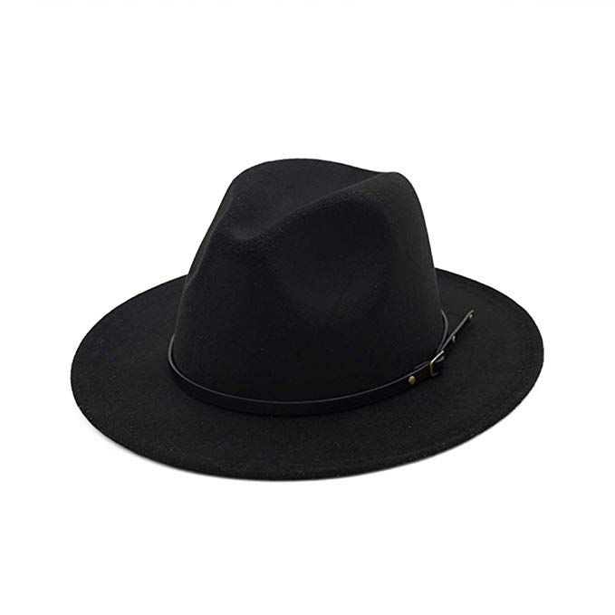 DJB Women s Classic Wide Brim Wool Fedora Panama Hat with Belt Buckle d1737959b134