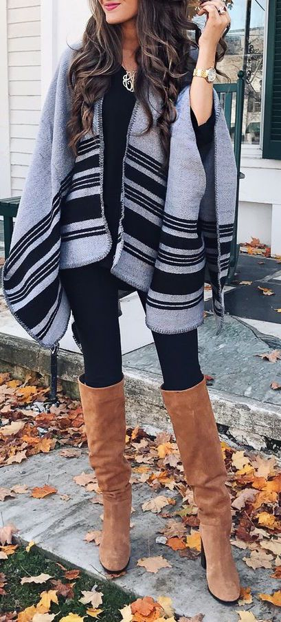 camel boots + black leggings + scarf / #winter #outfits #fashion