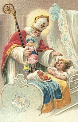 VICTORIAN CHRISTMAS - So cool with St. Nicholas dressed as an actual bishop with a crosier and mitre!