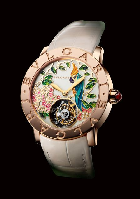 Bvlgari Watch  Il Giardino Tropicale di Bulgari made of Pink Gold - Diamonds - Alligator Strap for Women - Collection Bulgari Bulgari