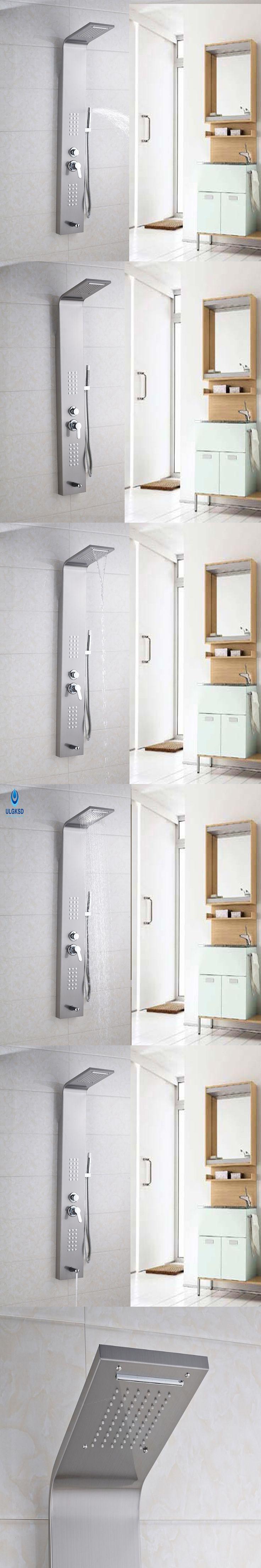 Ulgksd Stainless steel Shower Column Bathroom Shower Panel Handle BathTub Faucet Spout Mixer W/ Hand Shower Faucet Massage Jets