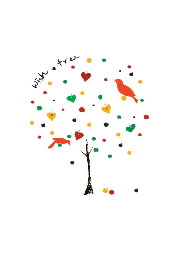 Wish Tree Illustration Art Print Animal Children par dekanimal, $18,00