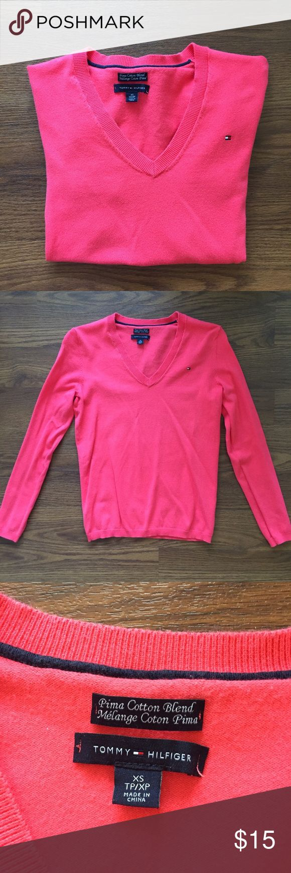 {Tommy Hilfiger} Coral Sweater Great condition, hardly worn! This sweater is more of a salmon, orange-pink color that is hard to capture, but look at the last picture for color tone. Tommy Hilfiger Sweaters V-Necks