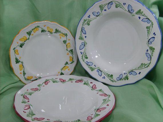 Plate Setting for TwelveColored Ceramic di ElenasCeramicStore