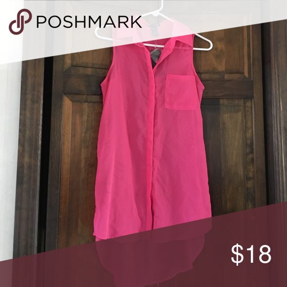 Cool wear hot pink shirt Hot pink sleeveless button down shirt. Great with leggings. NWT Coolwear Tops Tunics