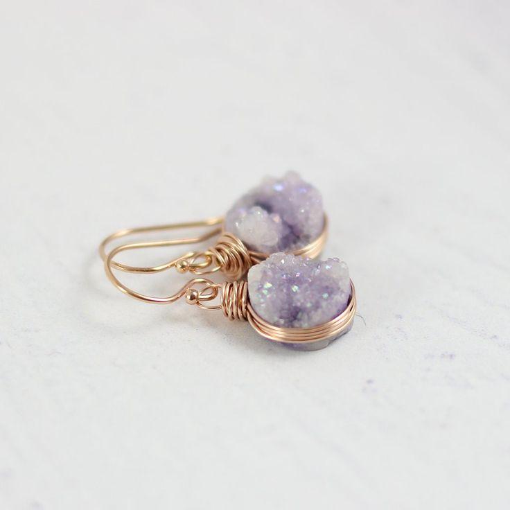 LIGHT VIOLET DRUZY ROSE GOLD CIRCLE EARRINGS  | Earrings | Necklace | Jewelry | Gemstone Jewelry | #gemstone #druzy #gemstonejewelry #jewelry #handmadejewelry | www.starlettadesigns.com