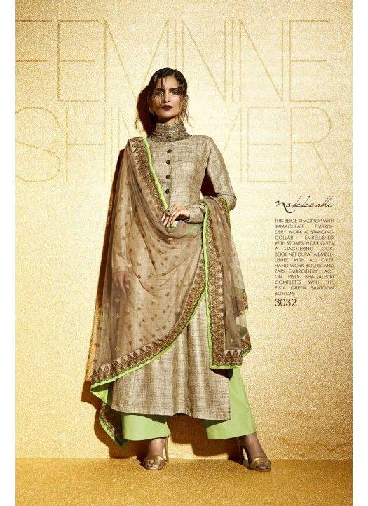 New Lime Green & Cream Khadi Designer Plazzo Suit @3099 #Fancy #Latest #Plazo #SalwarSuit