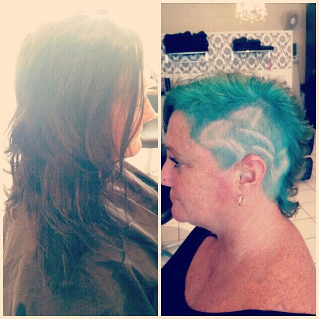 Dark past shoulder length style to amazing asymmetrical shave with bright aqua and tracked in Dolphin