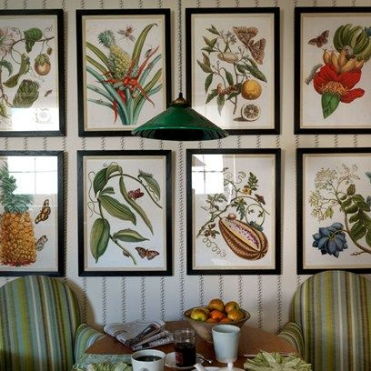 Discover ideas for displaying art on HOUSE - design, food and travel by House & Garden. Pretty botanical pictures, hung in symmetrical rows.