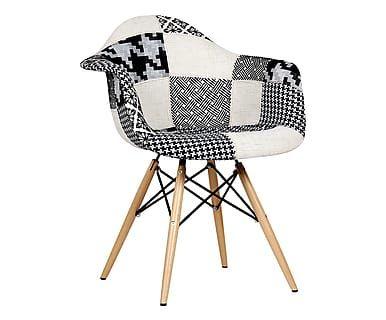 Sedia in legno e tessuto Wooden Patchwork bianco/nero - 61x80x62 cm