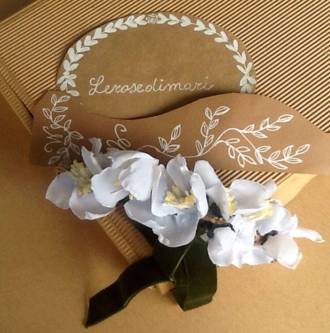 Coroncina, collier o polsiera fiori di arancio in seta filo animato e nastro in velluto verde
