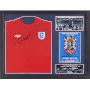 #All Star Signings Geoff Hurst Signed and Framed England 1966 Shirt #A Geoff Hurst hat-trick helped England to win the World Cup for the only time in their history, beating West Germany 4-2 in an exciting final after extra-time. The England striker remains the only man to have scored three goals in a World Cup final. Here is an official replica England replica 1966 shirt personally signed by Hero of the day Sir Geoff Hurst on 26th September, 2015 at a private signing session. The item comes…