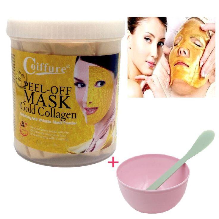 300g 24K Gold Mask Powder Active Gold Crystal Collagen Pearl Powder Facial Masks Anti Aging Whitening+mask bowl