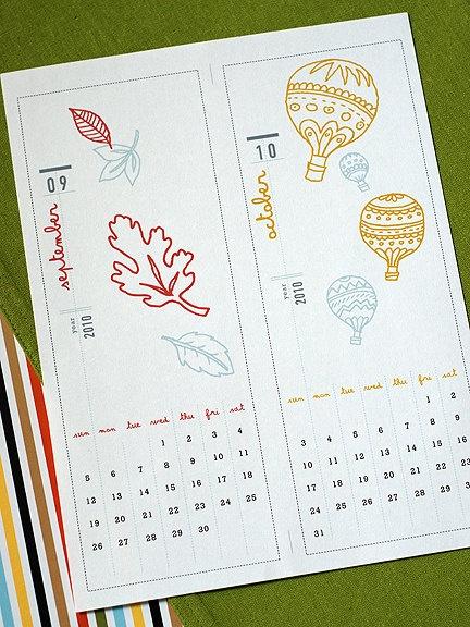 Cute Diy Calendar : Illustrated printable desk calendar  digital