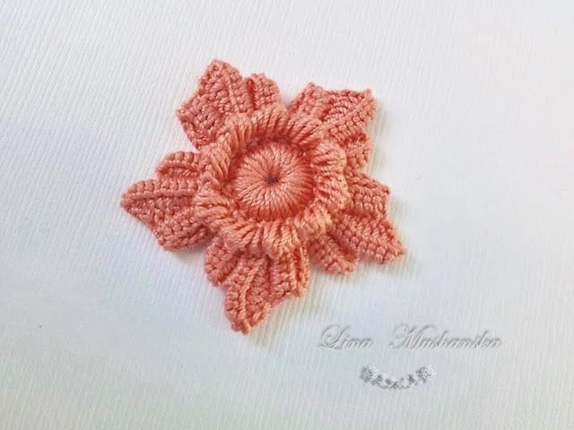 Flower with 5 petals. Irish Crochet motif.