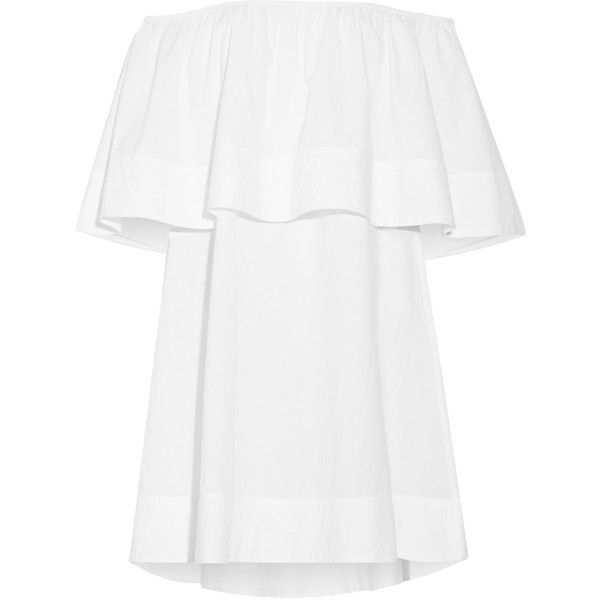 APIECE APART Piper Petal off-the-shoulder ruffled cotton mini dress (£255) ❤ liked on Polyvore featuring dresses, white a line dress, cotton dress, off the shoulder ruffle dress, white off shoulder dress and off-the-shoulder ruffle dresses