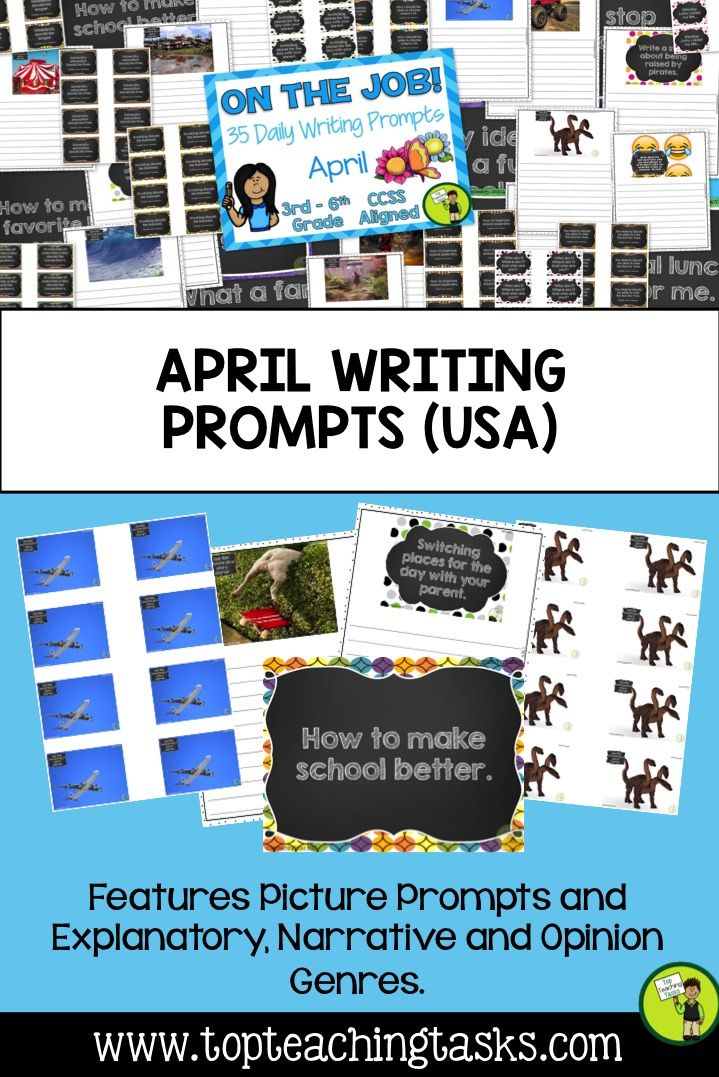 This resource includes 35 Daily Writing Prompts for April in three formats: PowerPoint, Journal and Worksheets. These prompts are perfect for a morning work activity, homework task or as part of your writing program. You can choose the prompts that suit your class best!   You will receive: •Eight Explanatory prompts •Eight Opinion/persuasive prompts •Eight Narrative prompts (story starters) •Ten photo/picture prompts • One special April date prompt - April Fools Day
