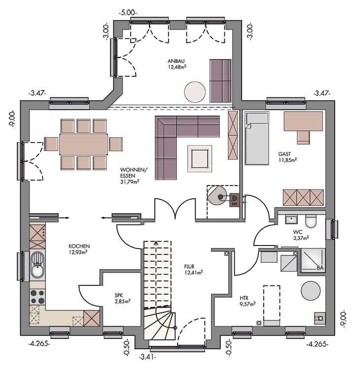 Einfamilienhaus im Landhausstil mit Klinker Fassade