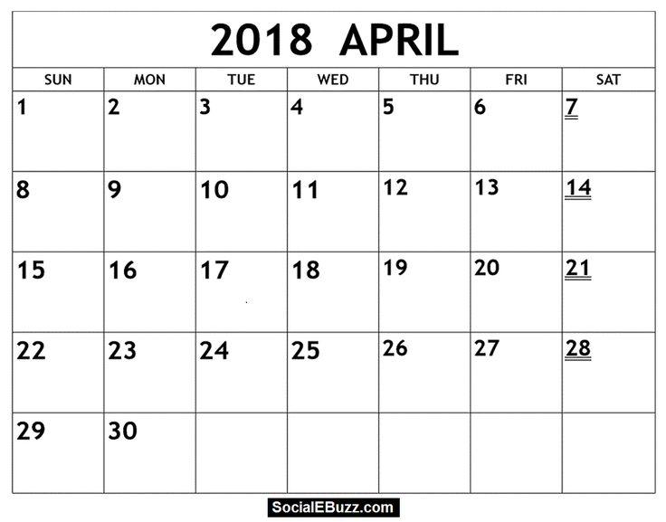 2018 monthly calendar word