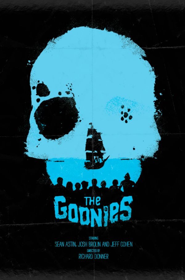 the goonies / skull poster: Poster Design, The Goonies, Childhood Memories, Daniel Norris, Movie Poster, Poster Quadro-Negro, Minimal Movies Poster, Favorit Movies, Film Poster
