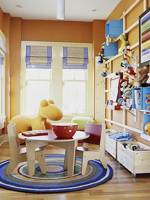 Blue and Yellow Creative Ideas for Shared Spaces: All Fun & Games (via Parents.com)