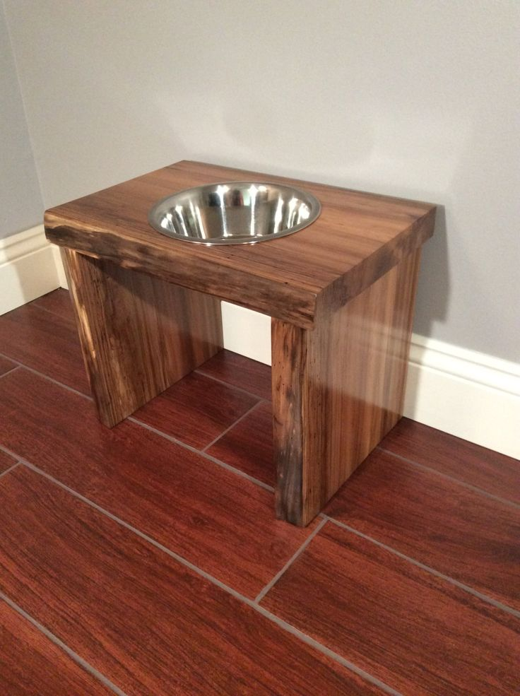 Single Bowl Raised Platform Dog Food Food/Water Holder by MorganWoodworking on Etsy