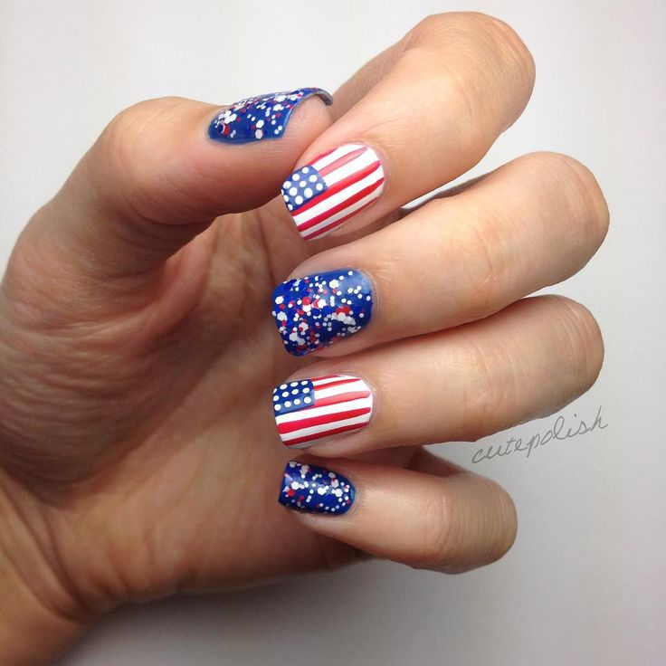 25 best ideas about short acrylics on pinterest classy for 4th of july nail art decoration flag