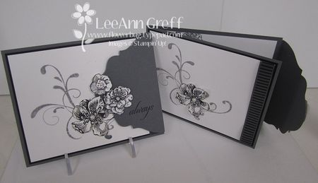 hanmade card ... fancy fold ... tri-fold with fancy closure ... elegant look in black, white and gray ... great card for special ocassions ... Stampin' Up!