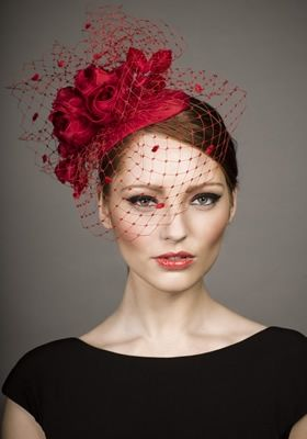 R13W15 - Red silk taffeta headpiece with roses and spot veil