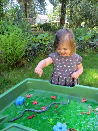 Swamp sensory bin for kids!
