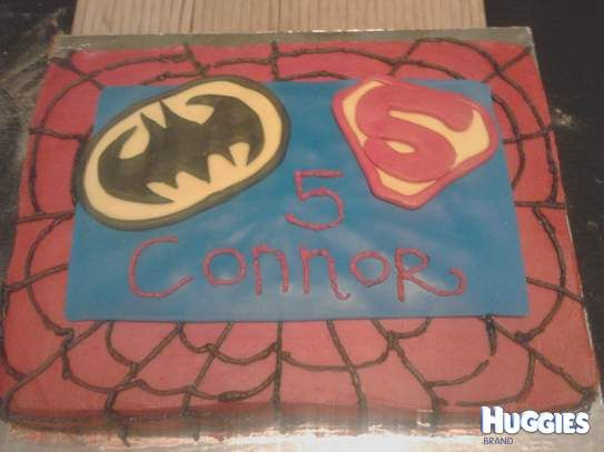 For my son connors 5th birthday I made this superhero cake . Its mudcake with fondant icing coloured with gel colours.