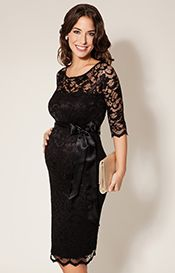 Amelia Lace Maternity Dress Short (Black)