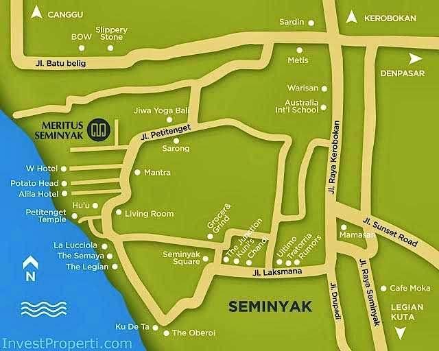 Peta lokasi Meritus Seminyak Hotel Bali.