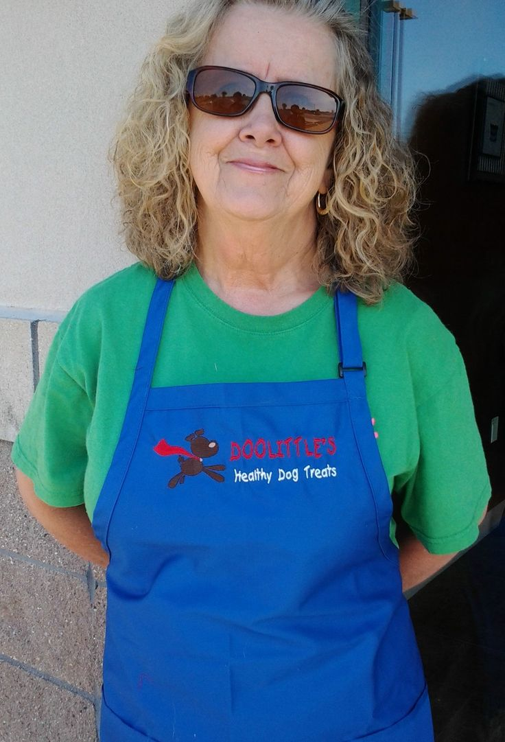 An apron that I embroidered for a client. Doolittle's Healthy Dog Treats