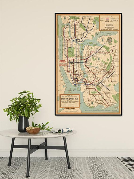 New York City Subway System Map Nyc Subway Map Vintage Map