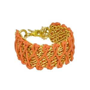 Leather chain bracelet by Dora By Ebru // Zincir -Deri bileklik (somon) - Dora By Ebru