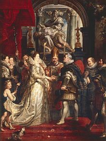 5. Wedding by Proxy of Marie de' Medici to King Henry IV (from Marie de' Medici cycle) - Peter Paul Rubens.  1622-25.  Oil on canvas.  394 x 295 cm.  Musee du Louvre, Paris, France.