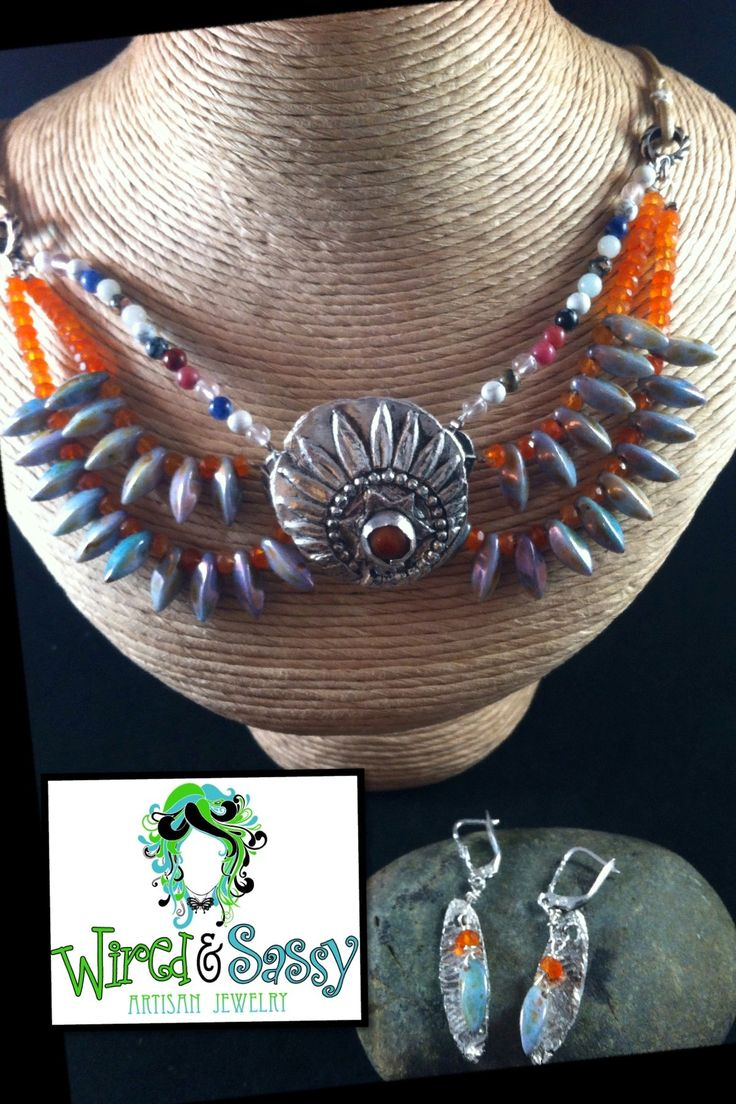Precious Metal Clay 2014-2015 On-Trend Tribal, Collar, Fringe-Look Necklace & Coordinating Earrings. Features Carnelian, other Gemstones, & Leather.  www.wiredandsassy.com